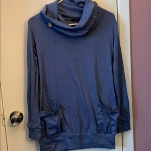 Blue sweatshirt, cowl neck
